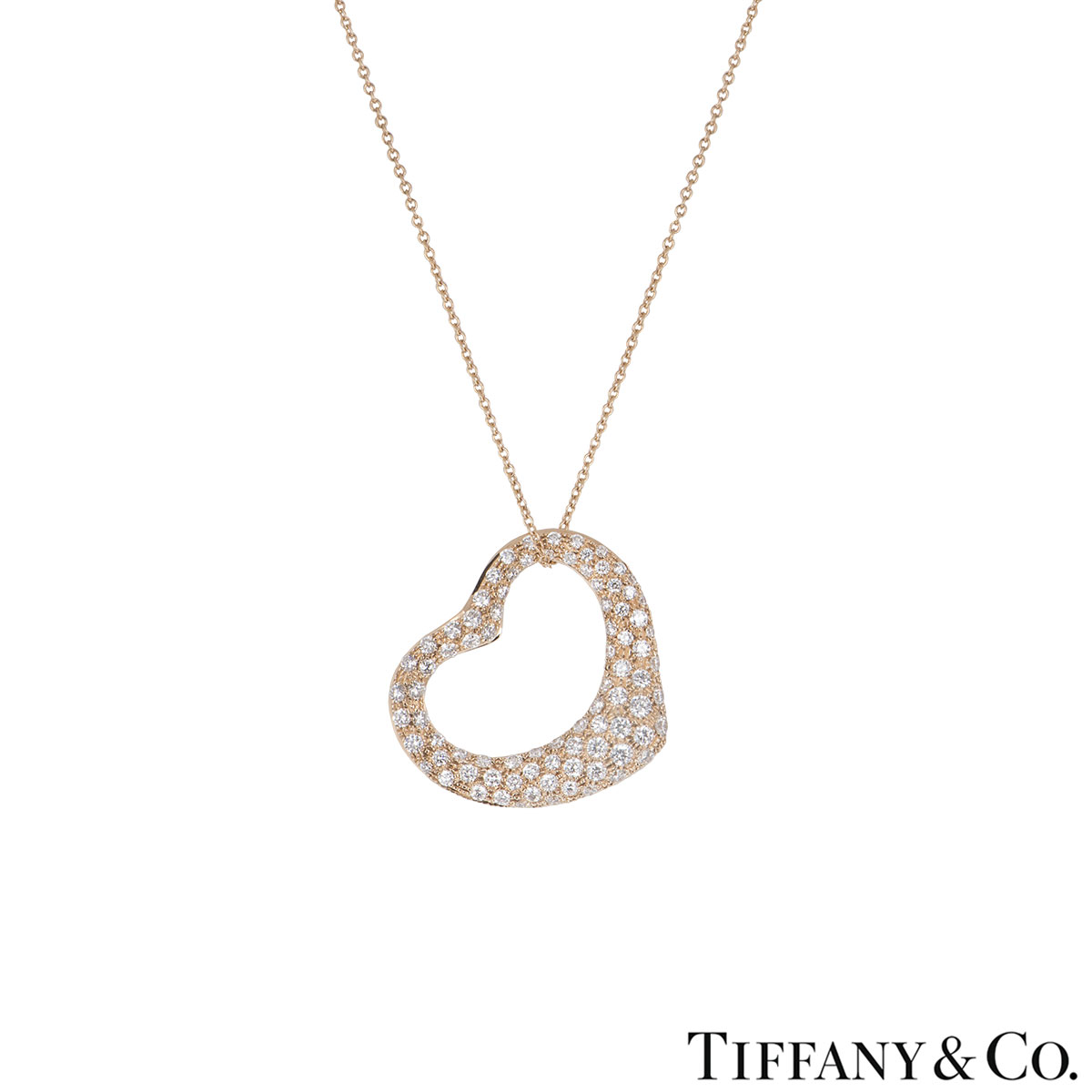 Tiffany & Co. Rose Gold Diamond Elsa Peretti Heart Necklace